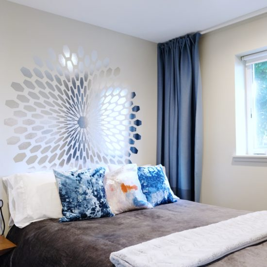 """alt=""""picture of the master bedroom and sun darkening shades in the Portland bed and breakfast"""""""