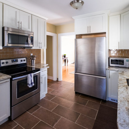 Newly renovated kitchen stainless steel appliances.