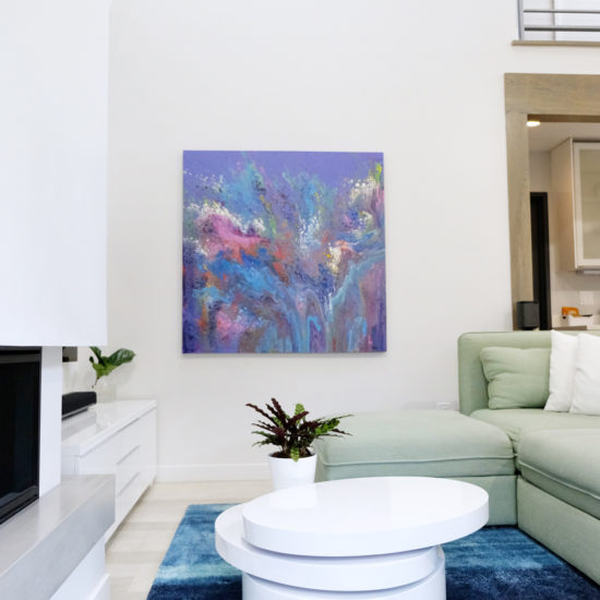 """alt=""""picture of the living room, fireplace and art at the Luxury Guesthouse vacation home in Portland Oregon"""""""