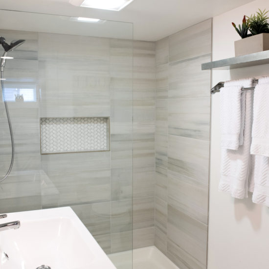 "alt=""picture of the luxury oversize bathroom shower of the Lounge Pad apartment at Chez Sealy PDX's bed and breakfast in Portland Oregon"""